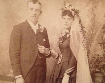 ON SALE St. Paul Minnesota MN Wedding Antique Photograph 1800's Vintage Old Photo Portrait