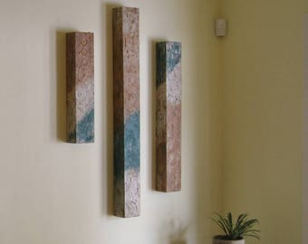 Wood Wall Sculpture | Textured Abstract Triptych | Wood Wall Art | Large Abstract Paintings | Wood Art | Large Abstract Wall Art | Teal Art