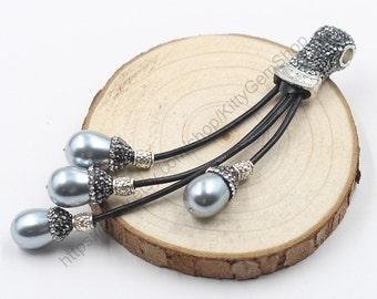 Pearl Beads Tassel Pendants -- With Pave CZ Diamond Zircon Head YHA-069