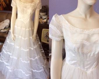 "1950's Princess Full Length Tulle Wedding Dress, ""A Maurer Original"""