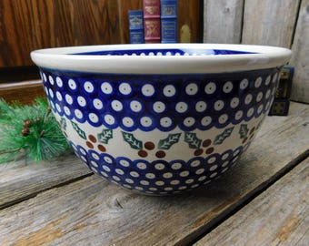 Vintage Polish Pottery Christmas Winter Holly and Berry Large Mixing Bowl - Boleslawiec