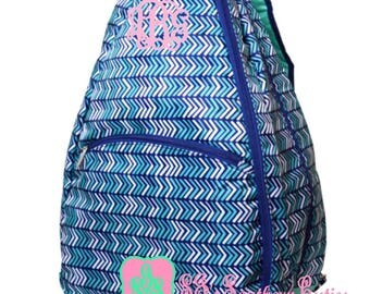 Monogrammed Vacay This Way Tennis Backpack, Monogram Tennis Bag, Personalized Tennis Bag