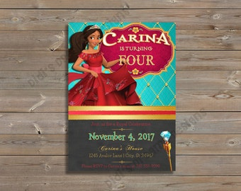 Elena of Avalor birthday or baby shower, matching thank you card, princess, disney inspired, customizable, digital file or printed invite