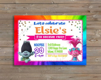 Trolls Poppy and Branch, Birthday Invitation and Thank You Card, Glitter, printable, customizable, Digital File or Printed Options