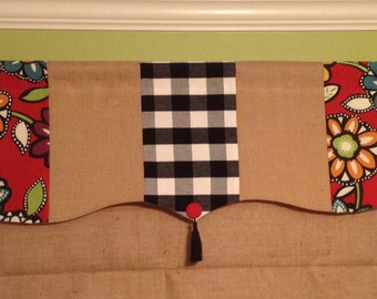 Ready To Ship Cute 3 Fabric Shaped Rod Pocket Lined Valance Display.......Tassel and Button Detail......Hand Made.