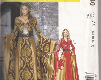 McCalls 6940 Medieval/Renaissance Costume in 2 Styles. Size A5 6,8,10,12,14. 2014