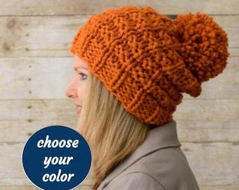Soft Wool Chunky Knit Hat, Knit Slouchy Hat, Knit Pom Pom Hat / LADDERS POMPOM HAT / 13 Colors Ready to Ship