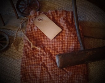 Primitive Seed~Ditty Bag with Hang Tag & Rusty Pin~Cupboard Tuck~Peg~Aged~Small Check~