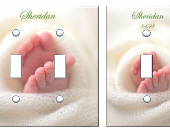 Personalized Baby Feet nursery light switch home decor baby shower gift // SAME DAY SHIPPING**