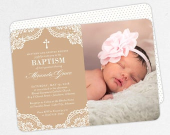 Photo Baptism Invitation, Christening Invitation, Girl Baptism Invitation, Printable Baptism, PDF, DIY, Printed, Lace Invite, Kraft, Miranda
