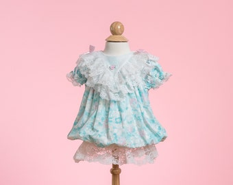 RESERVED//// Pastel Floral Bubble Dress (Size 3/6 Months)