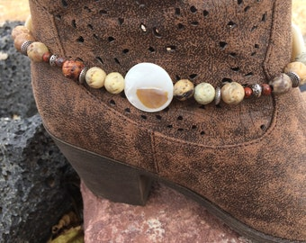 Soapstone Beaded Boot Bracelet, Boot Jewelry, Boot Bling