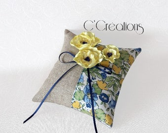 Ring Pillow in linen and liberty colors blue and yellow, flowers of yellow satin