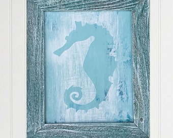 framed seahorse painting coastal decor reclaimed wood frame framed artwork house warming gifts beach house wall art