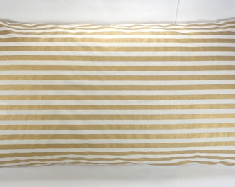 20x36 Gold Stripe Pillow Cover, Gold and Cream Pillow, King Sham