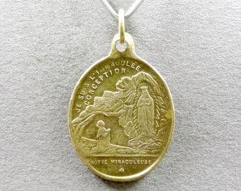 French, Antique Religious Pendant. Rosary Basilica. Saint Virgin Mary. Bernadette Soubirous Lourdes. Medal.