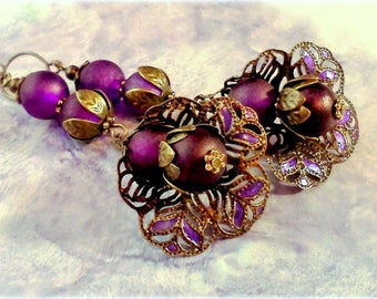Hand Painted Earrings, Purple Earrings, Handmade Earrings, Filigree Earrings, Purple Dangle Earrings, Victorian Style Earrings, Gift for Her