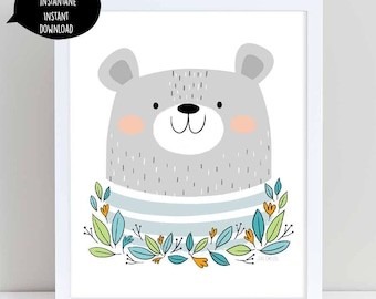 bear, bear poster, bear art print, bear illustration, bear wall art, printable bear art,nursery wall art, wall decor, printable wall art,