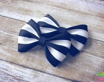 """Modern Black White Striped Hair Bows, Trendy Bows, Baby Hair Bows, Toddler Girls Hair Bows, Hair Clips, 4"""" Hair Bows, Spring Hair Bows"""