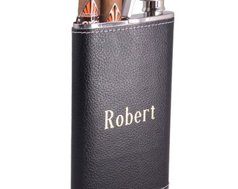 Personalized Cigar Flasks, Stainless Steel Cigar Flask Combo, Groomsmen Gift, Birthday Gift, Father's day Gift, Anniversary Gift VF2041BK