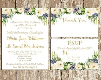 Blue flowers Wedding Invitation Printable Wedding Invitation suite Navy Blue gold White Wedding invitation set Watercolor Floral Wedding