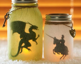 Dragon Luminary - Night Light - Dragon Decor - Mason Jar Decor - Medieval Knight - Medieval Dragon - Dragon Slayer - Nursery Decor - Knight