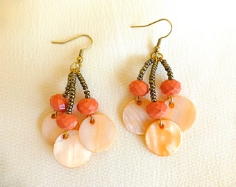 Long pink earrings, mother of pearl earrings, coral earrings, chandelier earrings, holiday jewelry, gift for her, gold earrings, shell