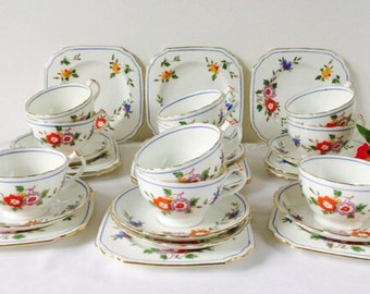 Chelson China Bright Floral Tea Set, 10 Trios, Staffordshire, c1913.