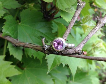 Faceted natural and untreated Amethyst Ring hand crafted in 925-Sterling Silver