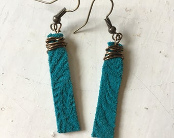 Turquoise Leather Wire Wrapped Earrings