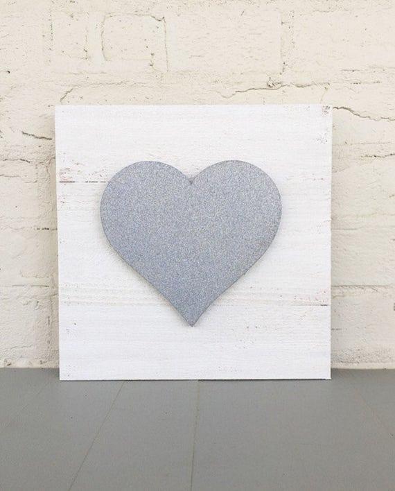 Wooden Heart Sign - Silver Glitter Heart Sign - Valentines Decor