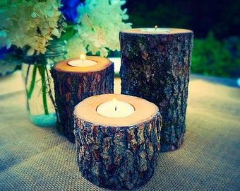 FREE SHIPPING - Firewood Tea Light Candle Holder - Tealight Candle - Wood Candle - Candelabra - Wedding - Thanksgiving - Candle Holder