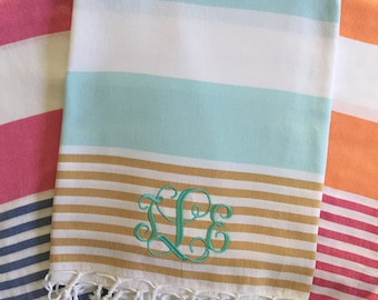 Monogrammed Turkish Beach Towels