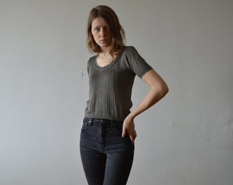 vintage dark silver gray short sleeves knitted lacey top