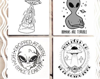 Alien Doodle Tile Coaster Set