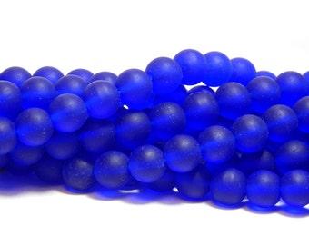 8mm Cobalt Blue Sea Glass Beads, Sea glass Beads, Blue Round Beads, Cobalt Blue Beads, Frosted Blue Beads, 8mm Matte Blue Beads  D-E38
