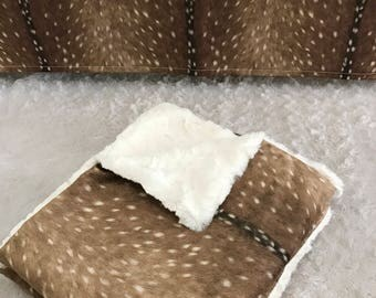 Custom double minky blanket; deer skin minky with cream snuggle minky make this luxuriously soft blanket a must have!!