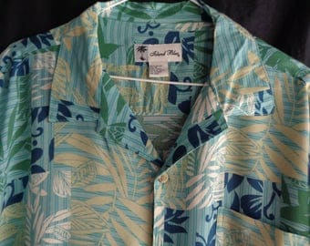 Vintage Hawaiian style shirt turquoise blue and beige
