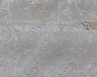 crinkle silk chiffon lace fabric in off white,embroidery silk fabric,wedding dress fabric-SE001