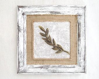 Rustic art decor. Shabby chic art frame. Distressed Neutral home decor. Elegant bronze leaf framed with burlap background. 3d Hanging Art.