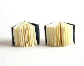 Small Journal Earrings, Tiny Diary Earrings, Leather, Wearable Books, Mini Books, Little Book, Book Lover, Small Book, Literary Jewelry