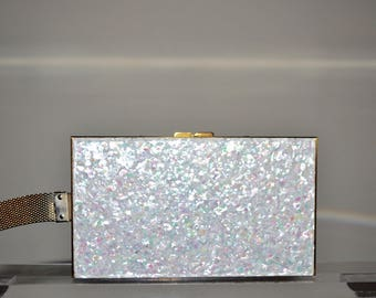 Vintage Confetti Lucite Rectangular Multi-compartment Carry-all Evening Clutch