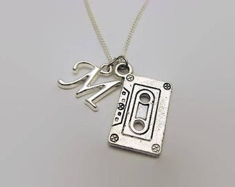 Cassette Tape Necklace Mixed Tape Necklace Music Necklace Cassette Necklace Mixed Tape Jewelry Music Jewelry Initial Necklace