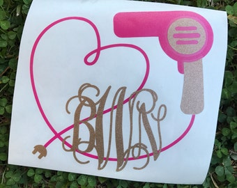 Monogram Cosmetologist Decal, Hair Dryer Decal, Cosmetologist Car Sticker, Hair Dryer Sticker, Monogram Decal, Blow Dryer
