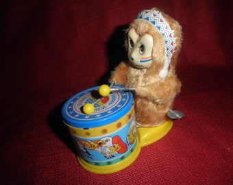 Vtg Wind Up Drumming Monkey 1960's