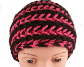 Chunky Striped Headband - Thick Striped Headband - Winter Headband - Two Color Headband - Pink Headband - Striped Headband  - Knit Headband