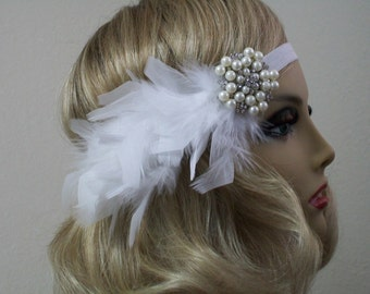1920s Flapper headpiece, Great Gatsby, White 1920s headband, Rhinestone and Pearl feather headband, 1920s Hair accessory, Vintage inspired