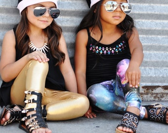 Gold Metallic Leggings Baby/Toddlers/Girls. Dance Spandex leggings. Gymnastics.