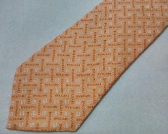 Vintage Bvlgari Necktie Signature Pattern Seven Folded Silk Tie Made In Italy