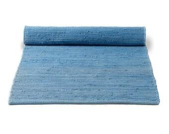 Plain blue Swedish rag rug